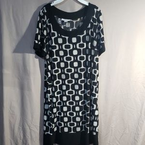 Dressbarn light gray and black stretchy dress